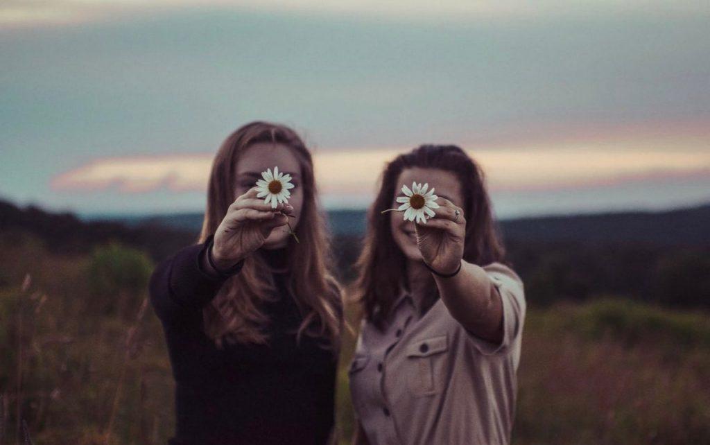 Две девушки в поле показывают ромашки не видно лиц на закате